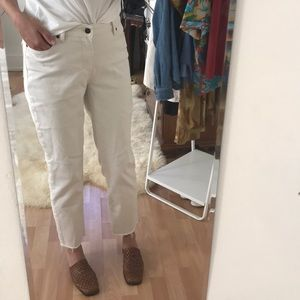 Pants - White Mid-Rise Straight Leg Slouchy Pants
